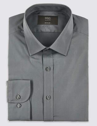 Marks and Spencer Cotton Blend Regular Fit Shirt