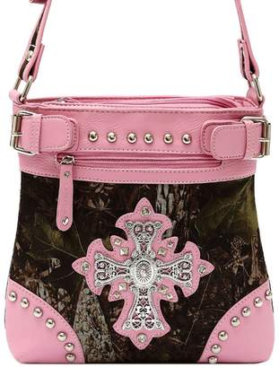 Cowgirl Trendy Camouflage Cross Studded Women Cross Body Handbag Western Style Purse Country Satchel Single Shoulder Bag