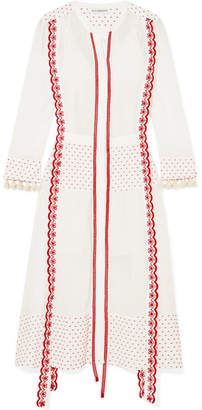 Altuzarra Grenelle Broderie Anglaise-trimmed Swiss-dot Cotton And Chiffon Midi Dress - White