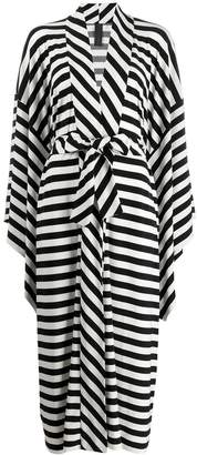 Norma Kamali mid calf striped robe dress