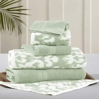 Pacific Coast Textiles 6 Piece reversible yarn dyed jacquard towel set Ikat Damask Sage