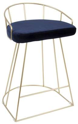 Lumisource Canary Contemporary Counter Stool in Gold with Blue Velvet by Set of 2
