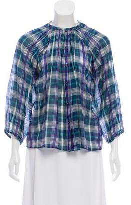 Tucker Plaid Button-Up Blouse