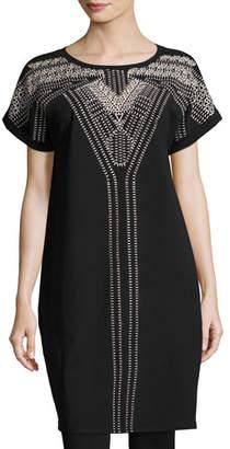 Nic+Zoe Havana Nights Short-Sleeve Embroidered Tunic Dress, Plus Size