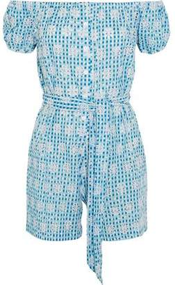 Miguelina Off-The-Shoulder Broderie Anglaise Gingham Cotton Playsuit