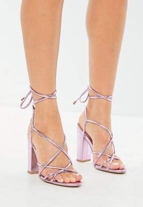 Missguided Pink Metallic Lace Up Block Heeled Sandals