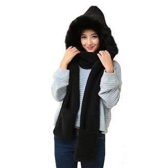 e41798c399f Veepola Women Faux-Fur Beanie Hat Winter Warm Caps+Scarf Shawl Suit