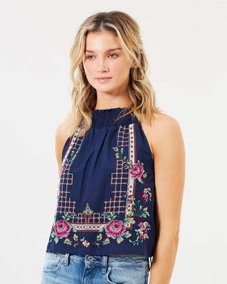 Free People Honey Pie Embroidered Tank Top