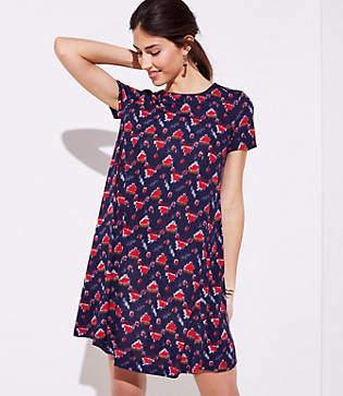 LOFT Ikat Short Sleeve Swing Dress