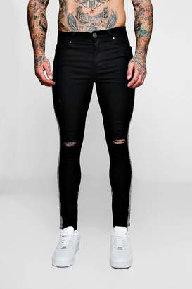 boohoo Super Skinny Ripped Knee Jeans with Aztec Tape