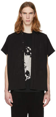 Jan-Jan Van Essche Black Short Sleeve Linen Button-Up Shirt