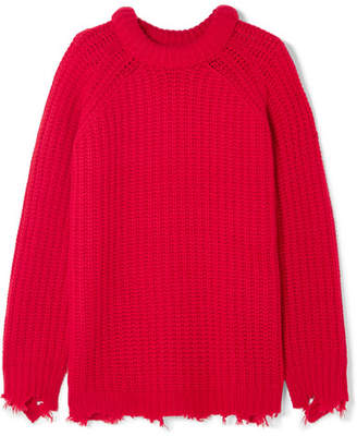 R 13 Distressed Cashmere Sweater - Red