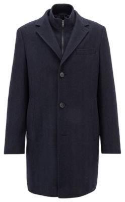 BOSS Hugo Tailored coat in Italian stretch fabric detachable jacket 38R Open Blue
