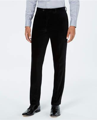 Tallia Men's Slim-Fit Black Velvet with Satin Side Stripe Suit Pants