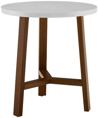 Walker Edison 20 Transitional Round White Marble Accent Side Table