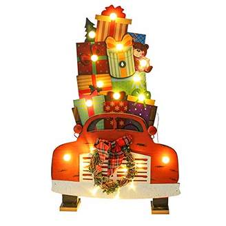Juegoal Car Shape Christmas Wooden Decorations with 22 LED Lights Battery Operated for Xmas Holiday Party Home Ornaments