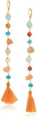 Panacea Chip Stone and Tassel Linear Drop Earrings