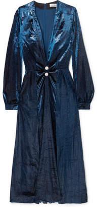 Raquel Diniz - Christy Crystal-embellished Metallic Velvet Midi Dress - Navy