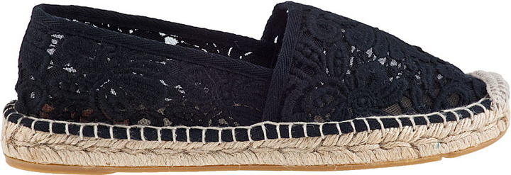 Tory Burch Abbe Flat Espadrille Black Fabric