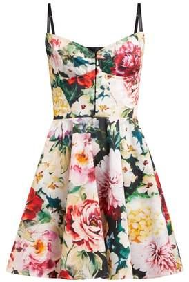 Dolce & Gabbana Floral Print Cotton Blend Bustier Dress - Womens - Ivory Multi