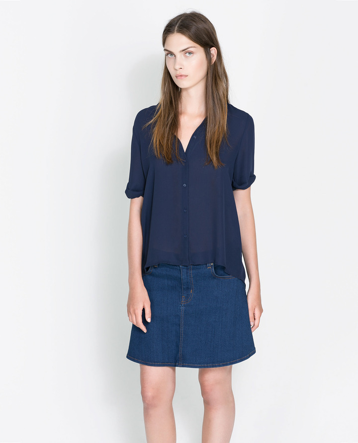 Zara Shirt With A Pleat In The Back