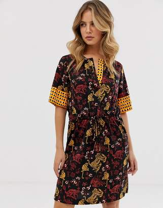 Maison Scotch floral print drawstring dress