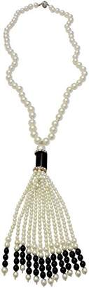 Kenneth Jay Lane 30- NECKLACE WITH JET & WHITE TASSEL-PAVE CRYSTAL ACCENTS