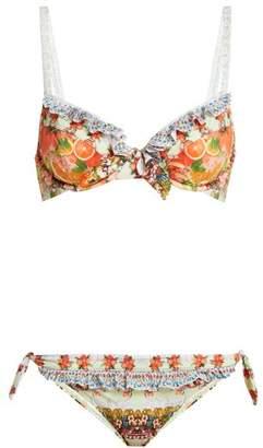 Camilla Frill Tab Tie Bikini - Womens - Orange Multi