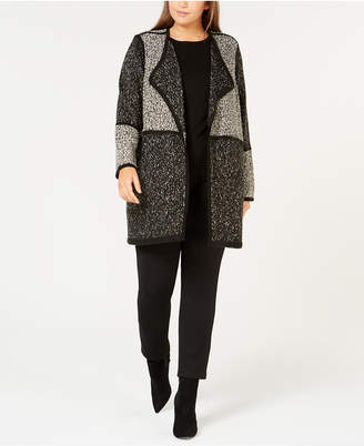 Calvin Klein Plus Size Colorblock Open-Front Cardigan