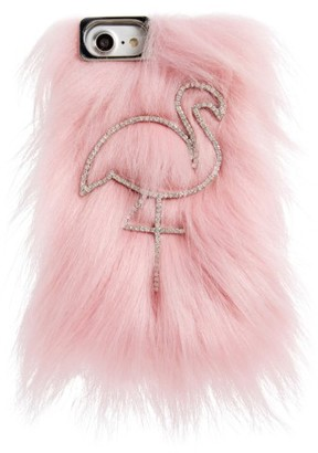 Skinny Dip Candy Flamingo Iphone 6/6S & 7 Faux Fur Case - Pink