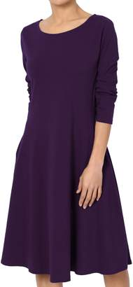 Ash TheMogan Women's 3/4 Sleeve Cotton Jersey Fit & Flare A-Line Dress L