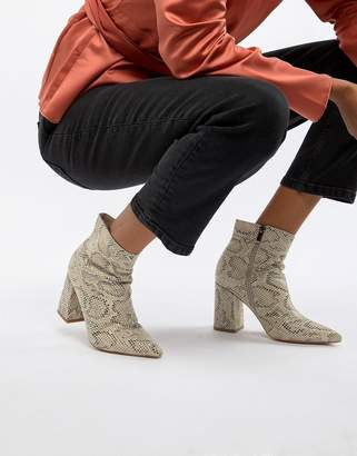 Public Desire Empire snakeskin block heeled ankle boots