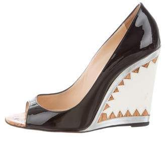 Christian Louboutin Patent Leather Peep-Toe Wedges