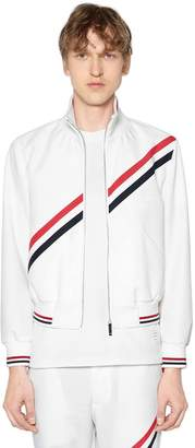Thom Browne Zip-Up Nylon Track Jacket W/ Stripes