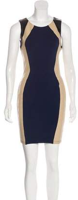 David Lerner Leather-Accented Mini Dress