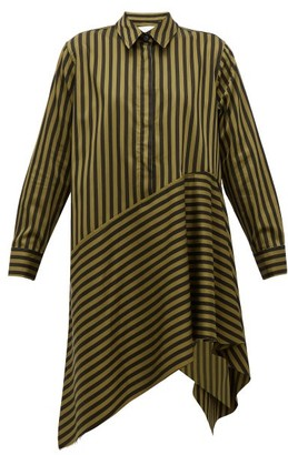Marques Almeida Marques'almeida - Asymmetric Hem Striped Cotton Dress - Womens - Khaki