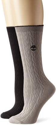 Timberland Women's Cable Knit Crew Socks 2-Pack