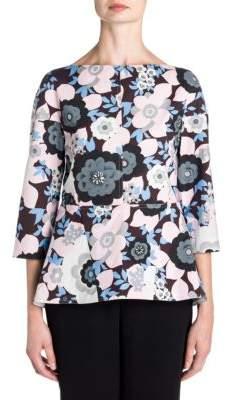 Marni Floral-Print Peplum Top