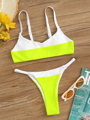 25897725eb6 Shein Neon Lime Color-block Top With Tanga Bikini Set