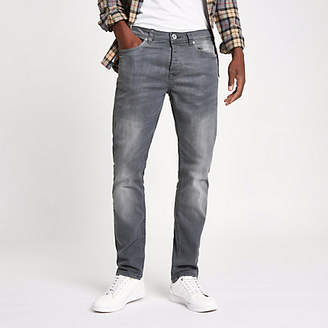 River Island Grey wash fade Dylan slim fit jeans