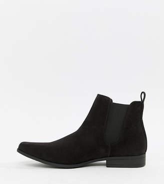 Asos Design DESIGN Wide Fit chelsea boots in black faux suede
