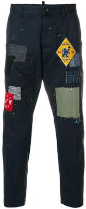 DSQUARED2 patchwork cropped trousers