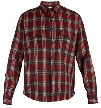 Saint Laurent Checked Wool Shirt - Mens - Red