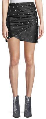 Alice + Olivia Fidela Draped Leather Star-Studded Mini Skirt