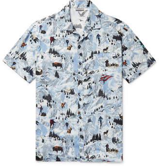 Lanvin Camp-Collar Printed Matte-Satin Shirt