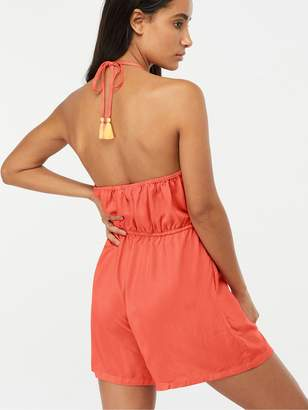 Accessorize Embroidered Flower Playsuit - Coral