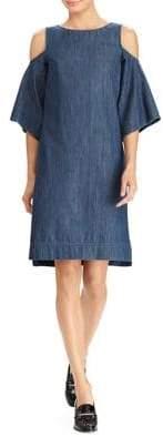 Lauren Ralph Lauren Denim Cutout-Shoulder Dress