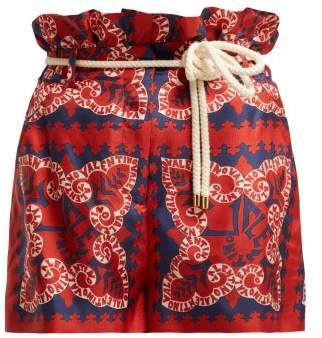 Valentino Silk Bandana Print Logo Shorts - Womens - Red Multi