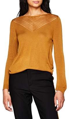 Vila CLOTHES Women's Visatia Knit Pointelle 7/8 Top Jumper, Blue Total Eclipse, (Size: Large)