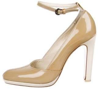 Miu Miu Patent Leather Ankle Strap Pumps